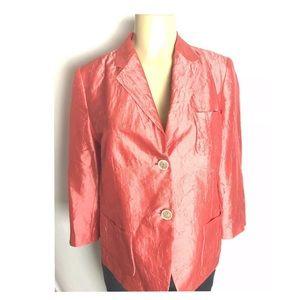 Talbots Blazer Size 10 Peach Crush Silk 2 Button